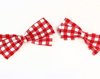 Gingham Hair Bow - Red Bow for Babies & Girls - Nylon Headband, Barrettes or Clips