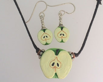 Apple Necklace and Earrings. Peruvian Clay