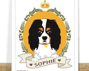 Custom Pet Portrait, Dog Portrait, Your Dog Illustration, Cavalier king Charles Portrait, Personalized Pet Drawing, Printable Dog Gift,