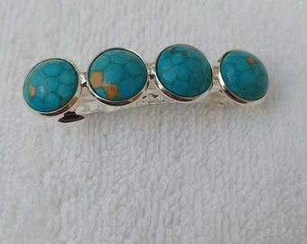 TURQUOISE REAL Gemstone Hairclip Barrette Handmade