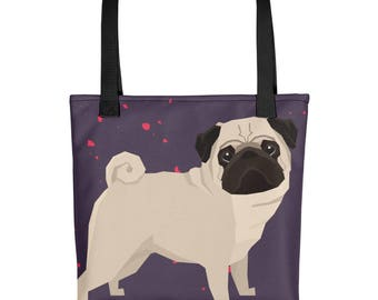 Pug Dog Tote bag, Adorable gift for dog lovers and pug owners