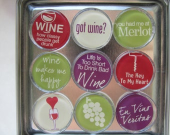 Wine Themed Magnets, Magnet Set of Nine with Storage Tin - Great Wine Lover Gift