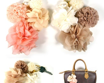 Big Beautiful Fabric Flower Floral Pearl Dangle Car Key Ring Chain Holder Hand Bag Purse Charm Accessory Lovely Fashion Women Lady Girl Gift