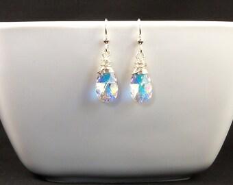 Swarovski Teardrop Sterling Wire Wrapped Earrings, Aurora Borealis Clear Crystal Short Dangle Wedding Jewelry