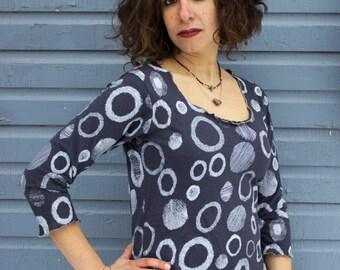 Orbit Shirt - 3/4 Sleeve Scoop Neck - Hemp and Organic Cotton
