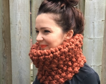 "Luxe Knit ""Moss Park"" Cowl in *rust* - Circle Scarf Neck Warmer"