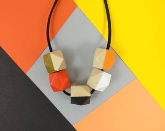 Block Colours Necklace - Orange Grey | Statement Necklace | Gift for her | Geometric Jewellery | Beaded necklace | Minimalist necklace | Geo