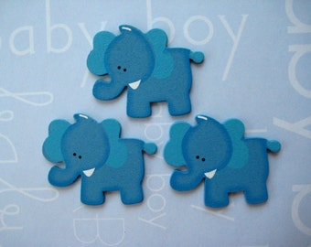 """1.5"""" Blue Elephant Wooden Animal Ornaments for Baby Shower Party Favors, Craft, Zoo, Forest, Jungle, Safari, African Themes, 12 pcs,"""