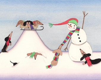 12 Christmas cards: Dachshunds (doxies) frolic in winter with snowman  / Lynch folk art