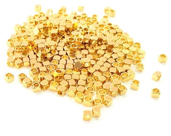 50 Gold Cube Beads Gold Plated Brass Cube Beads (2x2.25 mm)  G8067