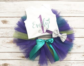 Mermaid First Birthday Outfit - Mermaid Birthday - Under the Sea - One Cake Topper - Tutu - 1st Birthday - Cake Smash - Birthday Shirt