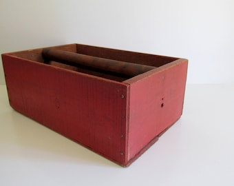 Handmade Vintage Red Wood Box with Handle Storage Container Garden Decor Tool Box