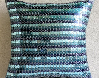 """Luxury Blue Pillows Cover, 16""""x16"""" Silk Pillows Covers For Couch, Square  Metallic Sequins Throw Pillows Cover - Sea Foam"""
