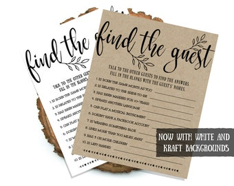 Rustic Bridal Shower Game, Find The Guest, Bridal Shower Game, Printable Wedding Shower, Hen Party, Hen Night, Instant Download, #IDWS817_66