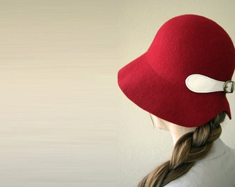 Red Cloche Hat , Christmas Hat