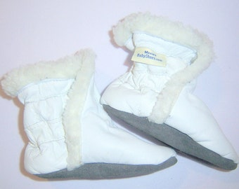 baby boots white soft leather sherpa lining, slip on baby leather boots