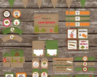 Camping, Campout Birthday Party Digital, Printable, DYI