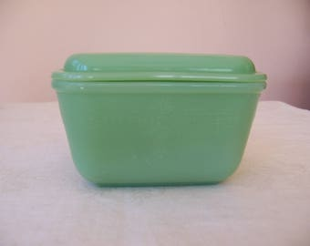 Vintage Anchor Hocking Fire King Jadeite Philbe Pattern Small Refrigerator Dish with Cover