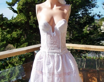Lace Dress, White Lace Dress, Corset Dress, Spring brerak, Strapless dress, White Corset dress, size S / M