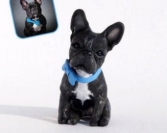 Custom dog figurines made in polymer clay -French Bulldog, Frenchie - miniature figurine of your Dog by Vell Vett