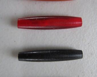 "20   Buffalo Bone/Horn 1.5""  Hairpipe Beads Amber, Black Red & White Jewelry/craft Making"