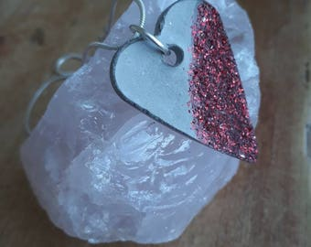 Red glitter concrete heart necklace-red sparkle-heart necklace-valentine gift