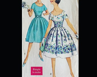 Vintage 60s Scalloped Bodice Fauxlero Party Dress WOUNDED BIRD Sewing Pattern 3474 B31