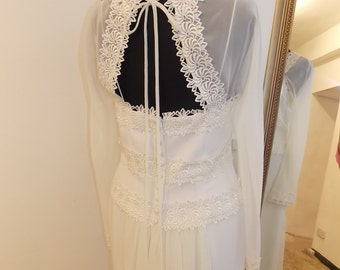1940s Style wedding Dress. 1980s does 1920s wedding dress, informal, simple, guipure lace wedding dress, fitted, Open back UK 10/12 US 8
