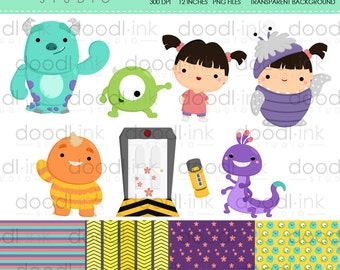 SALE 50%!!! Cute Monster and Girl Movie Digital Clipart / Scary Monster Cartoon Clip Art / Digital Paper For Personal Use / INSTANT DOWNLOAD