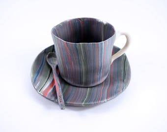 Handbuilt color layering porcelain cup and saucer with spoon
