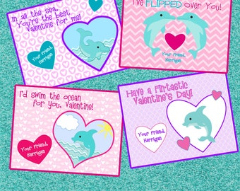 Dolphin Valentine's Day Cards - Printable and Customizable