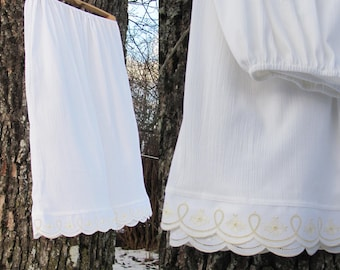 Handmade White Viscose Petticoat with Cotton Eyelet Lace; Eco-Friendly Clothing; Adult Underskirt; One Size Cotton Boho Skirt; Natural Wear