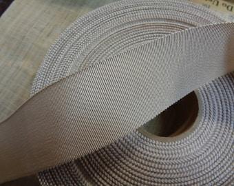 "50 yards vintage 1-1/2"" linen petersham grosgrain ribbon millinery   cotton rayon sewing trim"
