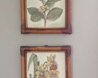 Pair of Mid Century Brazilian Tiles Framed in Bamboo