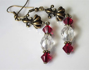 Crystal Earrings, Red and Clear Crystal Earrings, Elegant Art Nouveau, Antiqued Brass, Red Wedding, Crystal Jewelry