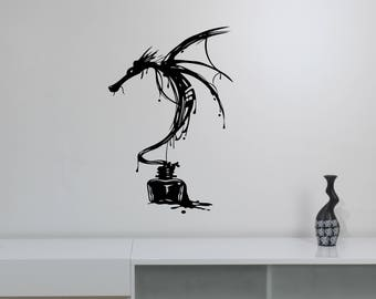 Inky Dragon Wall Decal Ancient Mythical Animal Vinyl Sticker Fantasy Monster Art Decorations for Home Room Bedroom Medieval Decor dn1