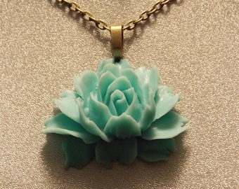 Turquoise Victorian Rose Pendant Necklace