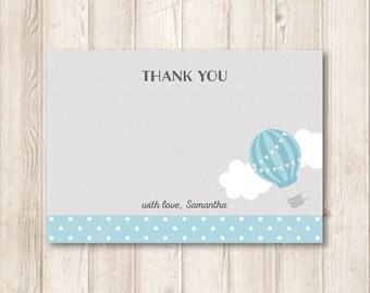 Pastel Blue Hot Air Balloon Thank You Note Cards, Up Up and Away, Adventure, Travel, Thank You Flat Cards