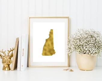 New Hampshire gold foil print/ NH state print/ state art/home state print/ home print/ state print/NH art/NH print/ custom state art