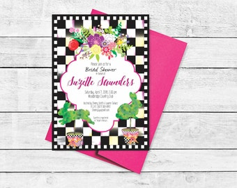 Bunny Topiary Checked Bridal Luncheon Tea Shower Rehearsal Dinner Invitation Black and White Checkered