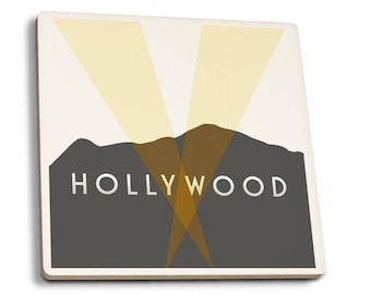 Los Angeles, CA - Hollywood Sign - LP Artwork (Set of 4 Ceramic Coasters)