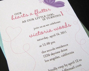 little hearts a flutter invitation