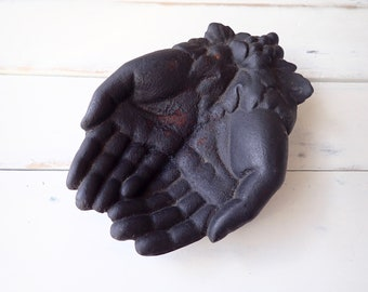 Cast iron hands, Cast iron calling card hands, Black hand display, Victorian style trinket dish, Open hands, Vintage hand display