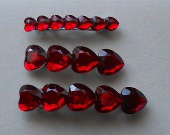 Heart Barrettes, Red Barrette, Ruby Hair Clips, Red Heart Clip