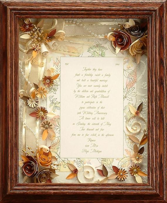 framed wedding invitation fall wedding custom wedding frame