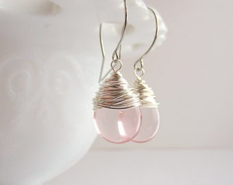 Pink Earrings Wire Wrapped Earrings Rosaline Czech Glass Jewelry Handmade Dangle Earrings Tear Drop Earrings
