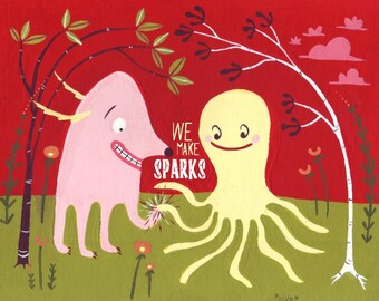 SPARKS Greeting Card - Dog and Octopus - Love Note Card for Those with Red Hot Chemistry - Wedding Anniversary Birthday Valentines Day