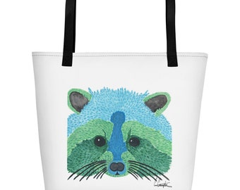 Beach Bag, Raccoon Bag, Woodlands Tote, Tote Bag, Beach Tote, Casual Beach Bag, Markets Bag, Casual Tote, Raccoon Art, Sleep over Bag, Girl