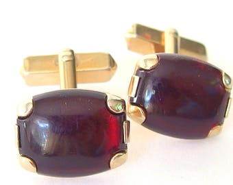 Red Cuff Links, Vintage 1940's Swank Lucite Goldtone Men's Jewelry
