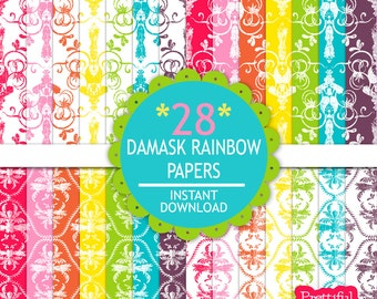 Damask Rainbow Digital Paper Pack  - Personal and Commercial Use